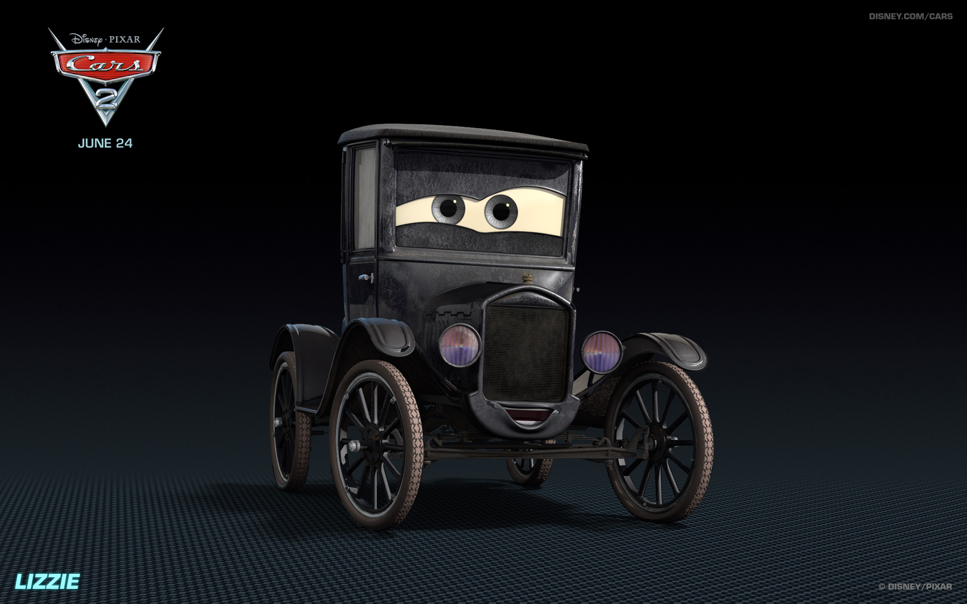 Lizzie The Old Car From Disney S Cars Hd Desktop Wallpaper