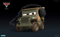Sarge the army jeep from Disney's Cars 2 CG animated movie wallpaper
