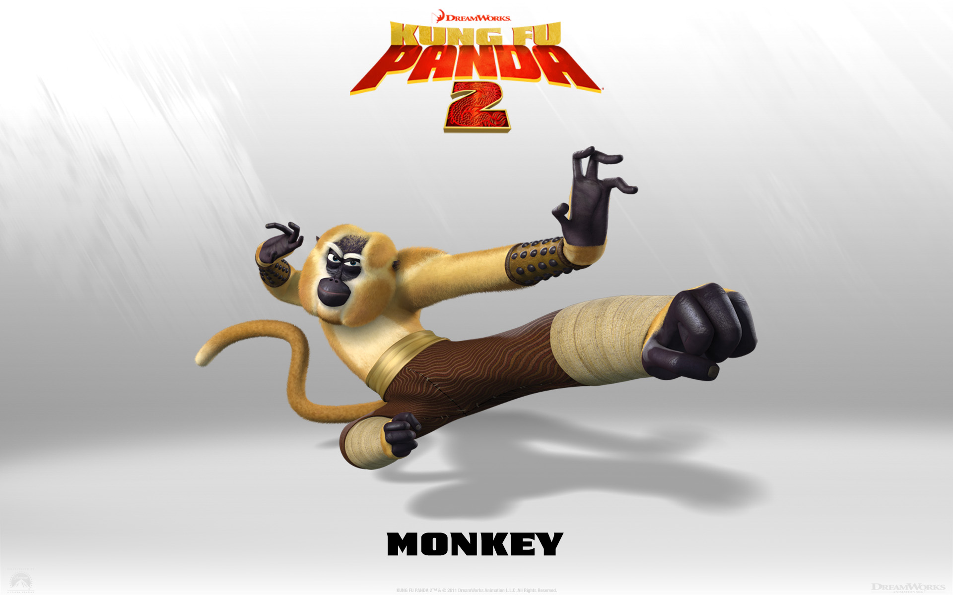 monkey from kung fu panda 2 movie desktop wallpaper