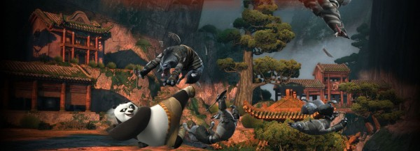 Po fighting a group of wolves from Kung Fu Panda 2 movie wallpaper