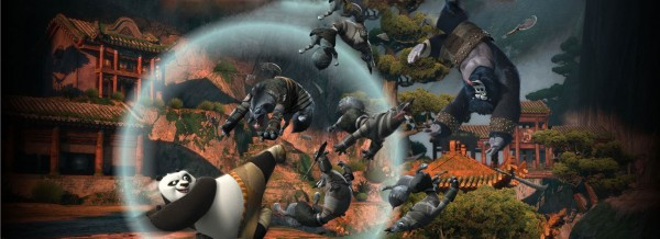 Po fighting wolves from Kung Fu Panda 2 movie wallpaper