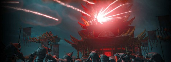 wolf warriors around a pagoda from Kung Fu Panda 2 movie wallpaper