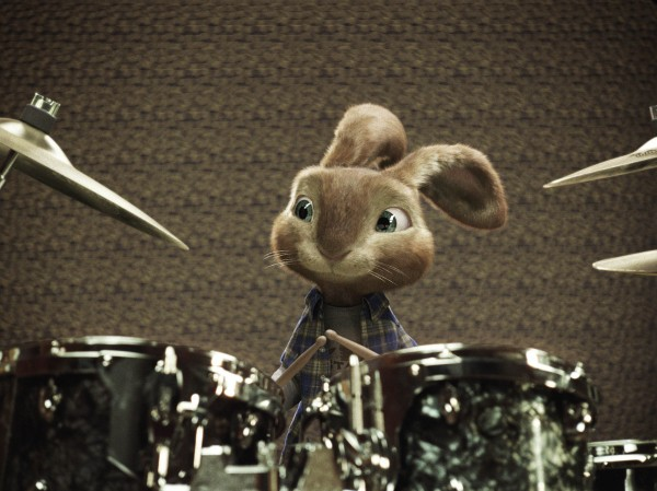 EB playing the drums from the CG animated movie Hop from Universal Pictures