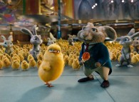 The Easter Bunny and Carlos the chick from the CG animated movie Hop from Universal Pictures