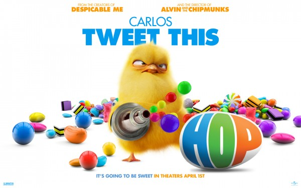 Carlos the chick is shown armed with his jelly bean shooter from the animated movie Hop wallpaper picture