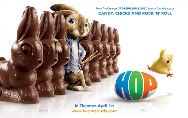 EB the Easter Bunny along with some chocolate easter bunnies from the animated movie Hop wallpaper picture