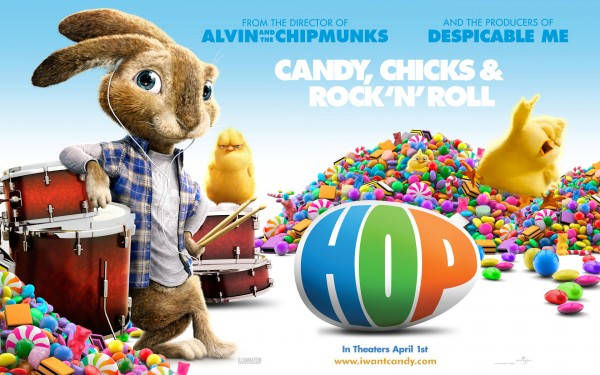 EB the easter bunny surrounded by candy along with Carlos and Phil from the animated movie Hop wallpaper picture