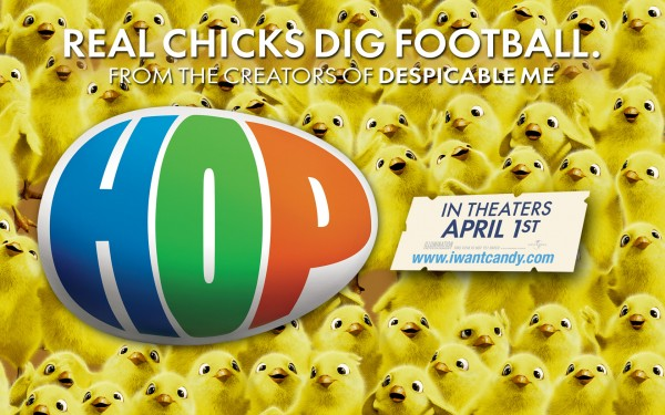 lots of chicks surrounding the movie logo for Hop from the animated movie Hop wallpaper picture