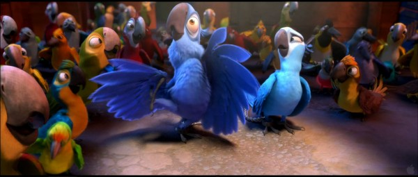 Blu and Jewel dancing from the animated movie Rio wallpaper picture