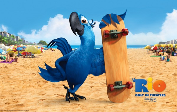 Blu the blue macaw bird on the beach in the animated movie Rio