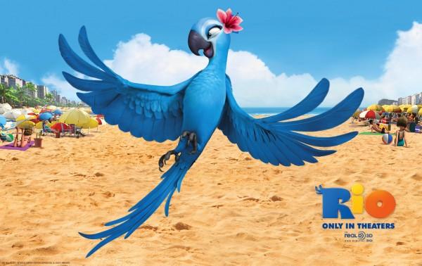 Jewel the blue macaw bird on the beach in the animated movie Rio