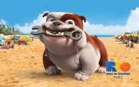 Luiz the bulldog on the beach in the animated movie Rio