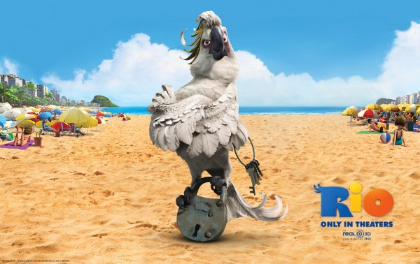Nigel the cockatoo bird on the beach in the animated movie Rio