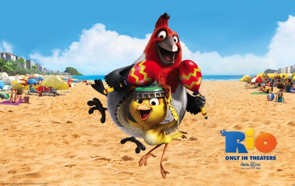 Pedro and Nico the birds on the beach in the animated movie Rio