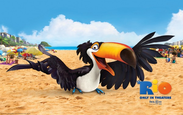 Rafael the toucan bird on the beach in the animated movie Rio