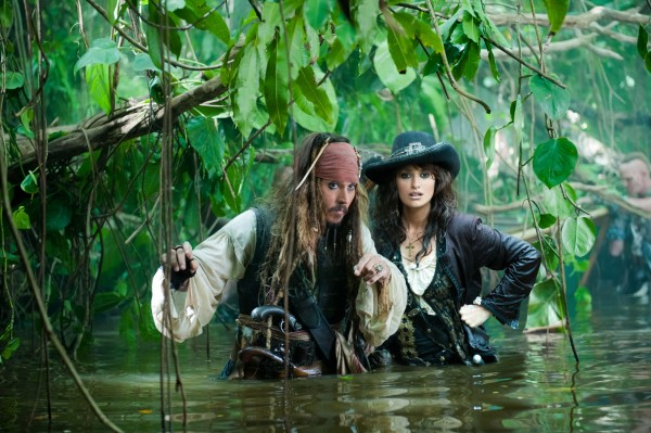 Jack Sparrow and Angelica from Pirates of the Caribbean On Stranger Tides movie wallpaper