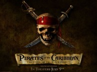 skull and crossed swords logo from Pirates of the Caribbean Curse of the Black Pearl movie wallpaper
