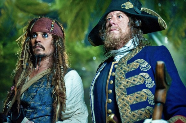 Jack Sparrow and Barbossa from Pirates of the Caribbean On Stranger Tides movie wallpaper