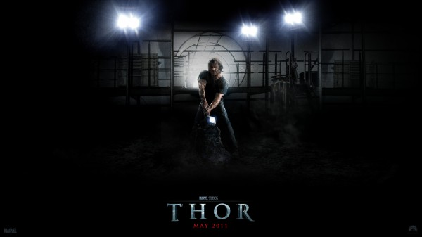 Thor pulling the hammer from the stone from the Marvel Studios movie Thor wallpaper