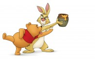 Pooh bear trying to get his hunny/honey pot from Rabbit from Winnie the Pooh wallpaper