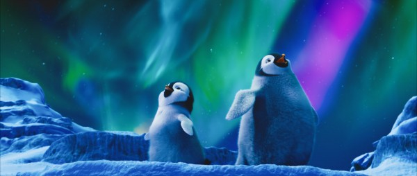 Erik the young penguin under the aurora australis in the 2011 movie Happy Feet Two wallpaper