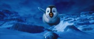 Erik the young penguin trying to fly in the 2011 movie Happy Feet Two wallpaper