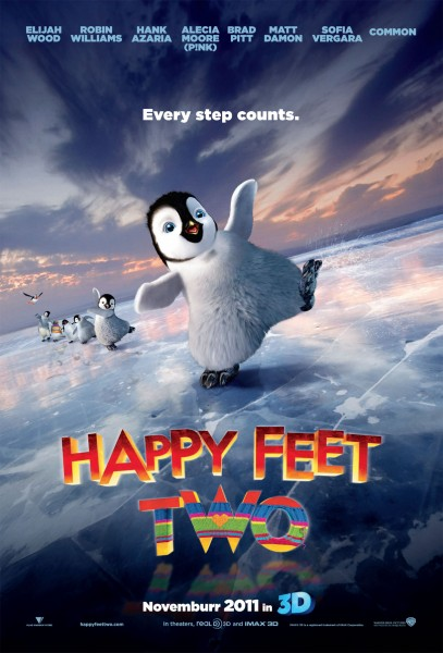 Happy Feet Two penguin movie poster wallpaper with dancing penguins