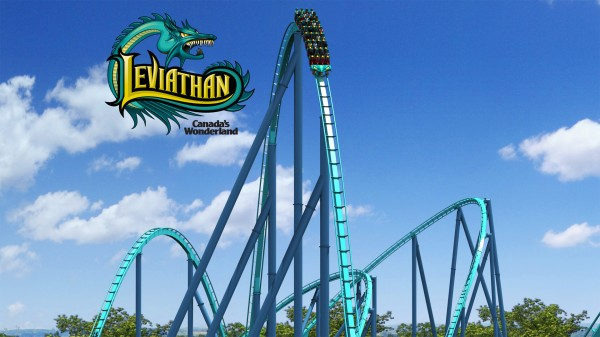 The first drop on the Leviathan roller coaster at Canada's Wonderland wallpaper