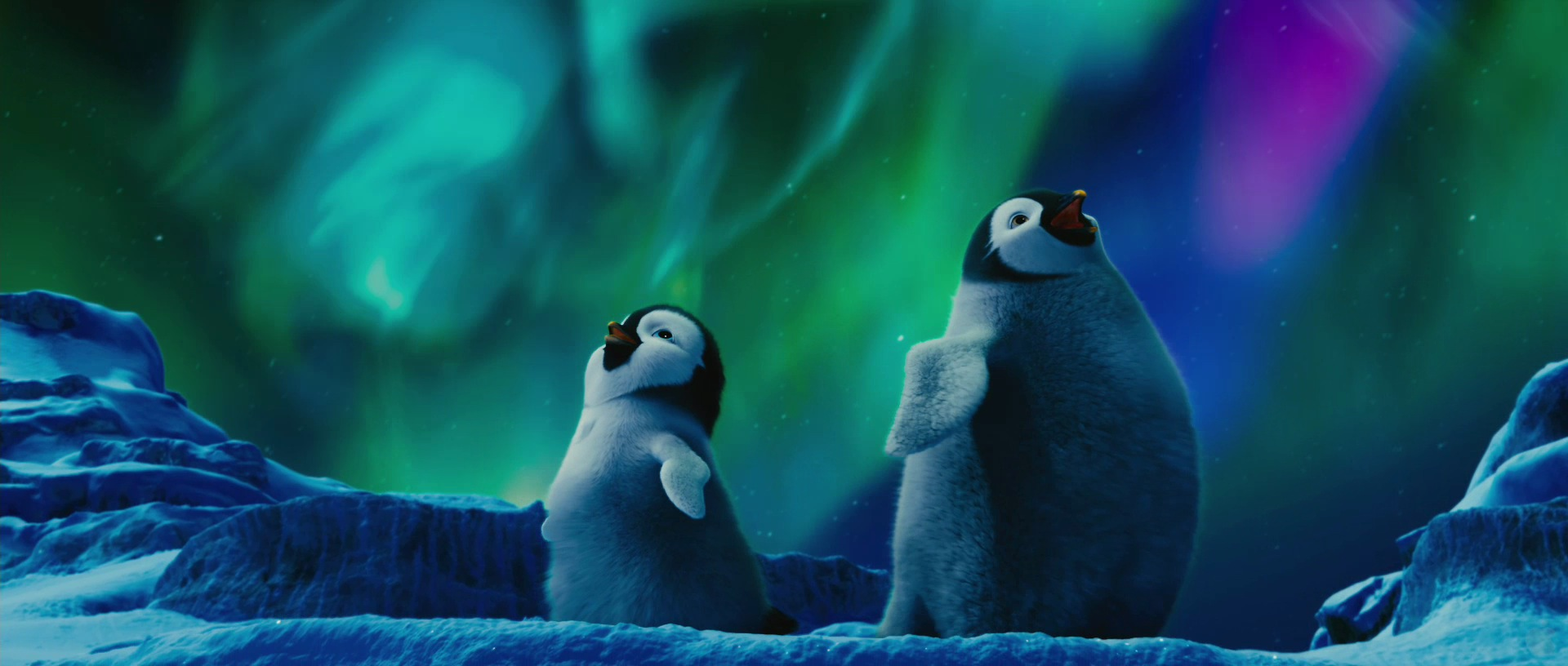 Baby Penguins Under The Aurora Australis In Antarctica From Happy Feet Two Movie Wallpaper