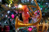 christmas tree at night with ornaments and french horn wallpaper