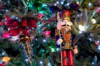 christmas tree at night with ornaments and nutcracker wallpaper