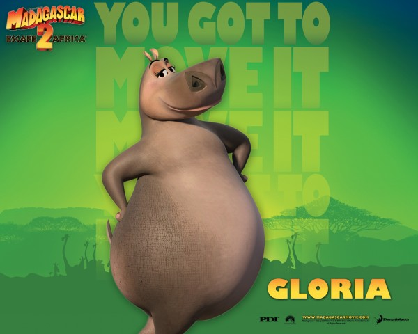 Gloria the hippo from the Madagascar CG animated movies wallpaper