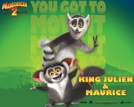 King Julien and Maurice the lemurs from the Madagascar CG animated movies wallpaper