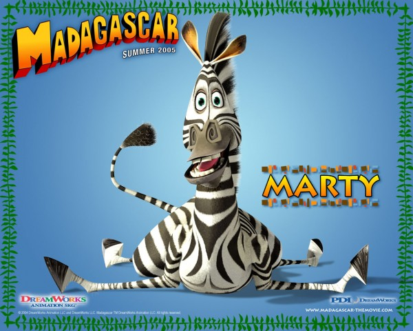 Marty the zebra from Dreamworks Madagascar animated movies wallpaper