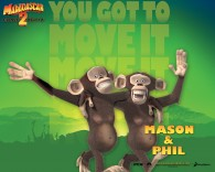 Mason and Phil the monkeys from Dreamworks Madagascar animated movies wallpaper