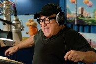 Danny DeVito recording lines for the Lorax in Dr. Seuss' The Lorax Movie wallpaper