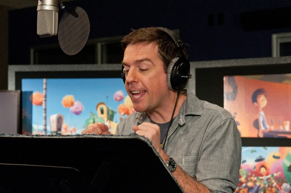 Ed Helms recording lines for Once-Ler in Dr. Seuss' The Lorax Movie wallpaper