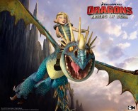 Astrid riding Stormfly the deadly nadder dragon from Dreamworks Dragons: Riders of Berk How to Train Your Dragon TV Series