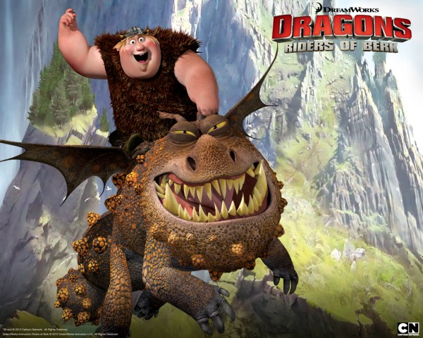 Fishlegs riding Meatlug the gronckle dragon from Dreamworks Dragons: Riders of Berk How to Train Your Dragon TV Series
