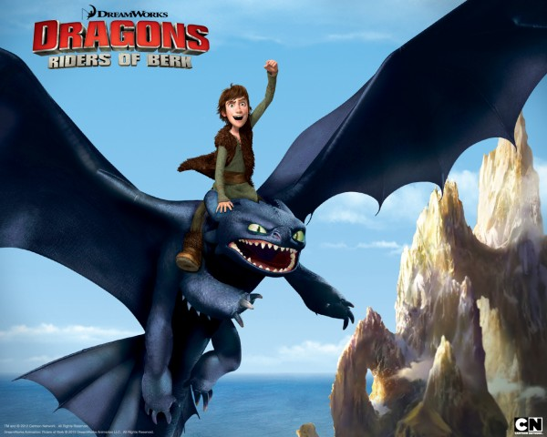 Hiccup riding Toothless the night fury dragon from Dreamworks Dragons: Riders of Berk How to Train Your Dragon TV Series
