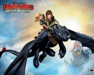 Hiccup and Astrid riding Toothless the night fury dragon from Dreamworks Dragons: Riders of Berk How to Train Your Dragon TV Series