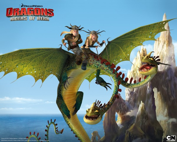 Ruffnut and Tuffnut riding Barf and Belch the two headed zippleback dragon from Dreamworks Dragons: Riders of Berk How to Train Your Dragon TV Series