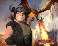 Snotlout riding Hookfang the monstrous nightmare dragon from Dreamworks Dragons: Riders of Berk How to Train Your Dragon TV Series