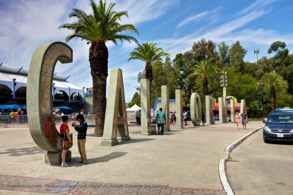 Entrance plaza for the California State Fairgrounds showing letters from Disney's California Adventure