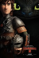 Official Movie poster for How to Train Your Dragon 2 by DreamWorks showing Hiccup and Toothless the night fury