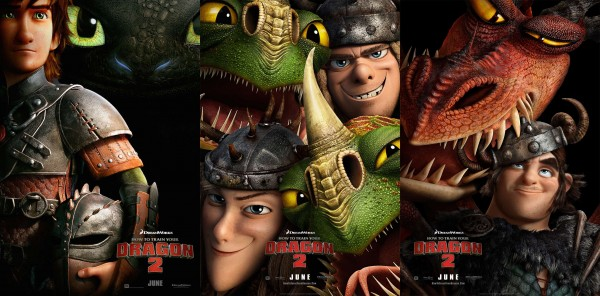 movie posters with Hiccup, Toothless, Ruffnut, Tuffnut, Barf, Belch, Snotlout and Hookfang from How to Train Your Dragon 2