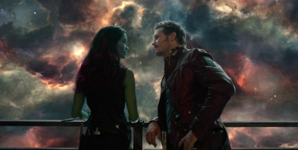 Star Lord and Gamora from Marvel's Guardians of the Galaxy movie wallpaper