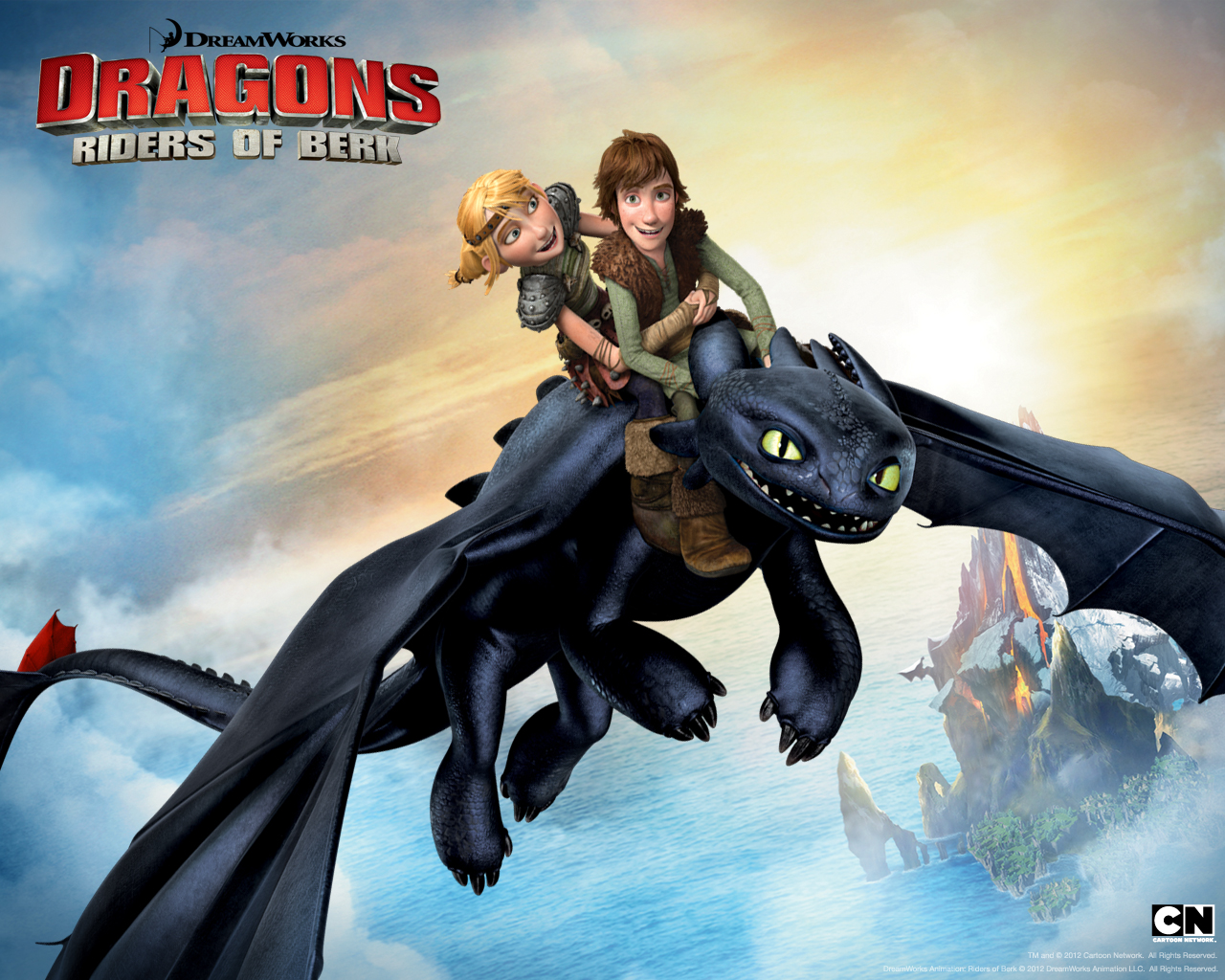 Hiccup And Astrid With Toothless In Riders Of Berk Desktop Wallpaper