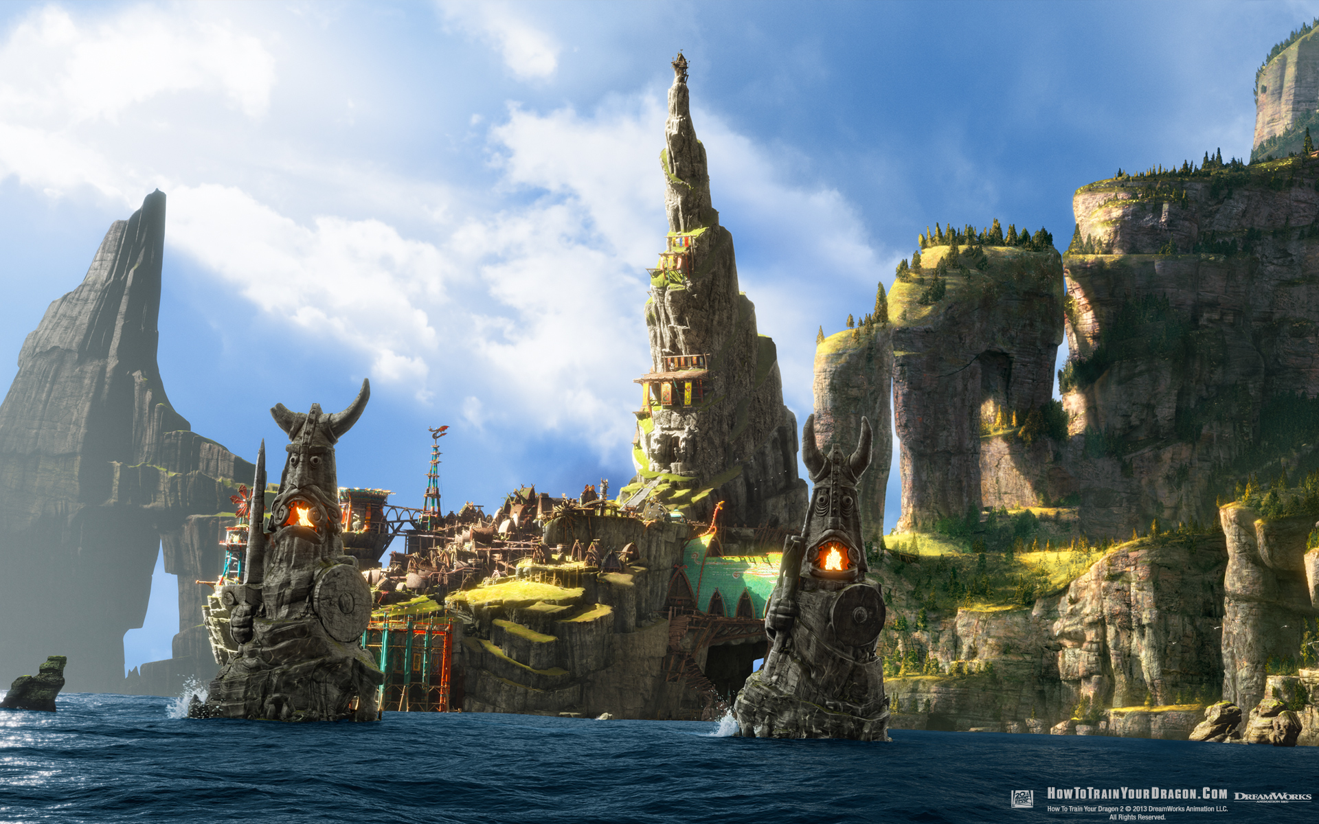 Isle Of Berk From How To Train Your Dragon 2 Desktop Wallpaper